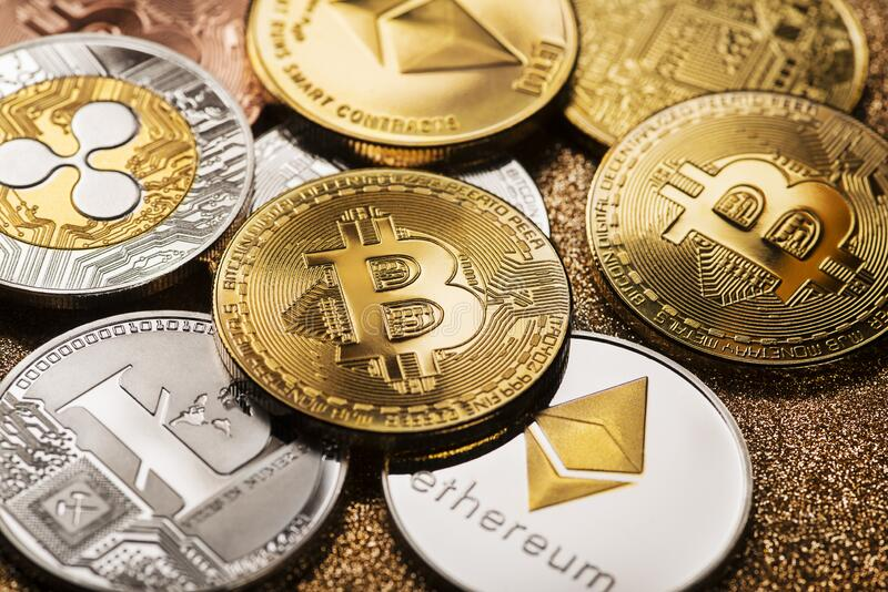 Bitcoin and altcoins cryptocurrency royalty free stock photo