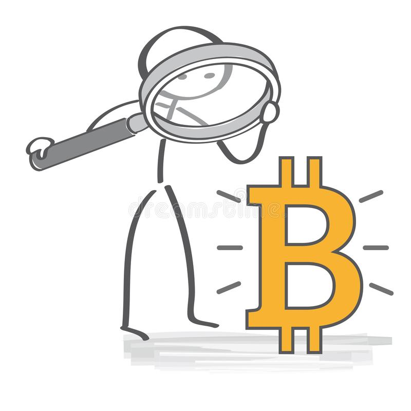 Bitcoin analyseert Digitaal Geld en Bitcoine-Concept stock illustratie