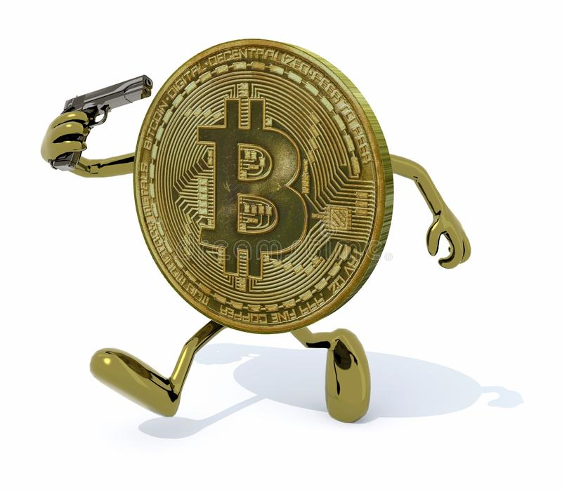 Bitcoin with arms, legs and gun on hand. Modern investment risk concept, 3d illustration stock illustration