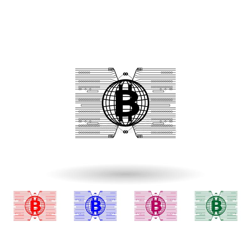 Bitcoin around the world multi color icon. Simple glyph, flat vector of cryptocurrency icons for ui and ux, website or mobile. Application on white background royalty free illustration