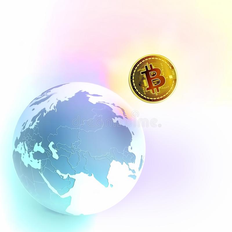 Bitcoin as a symbol world currency. globalization globalize worldwide universal global international. Bitcoin captures the globe. stock images