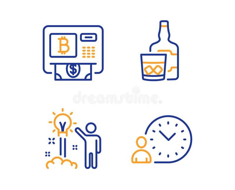 Bitcoin atm,威士忌酒玻璃和创造性的想法象集合 时间管理标志 ?? 皇族释放例证