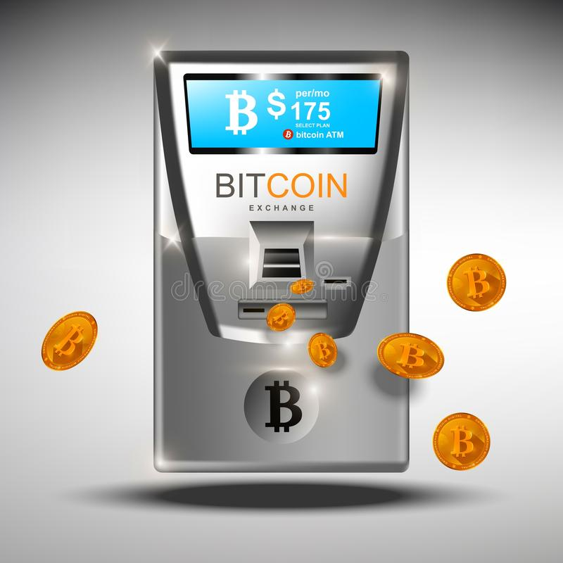Bitcoin ATM automated machine. ATM bitcoins cash machine Vector illustration. Crypto currency tranfers concepts royalty free illustration