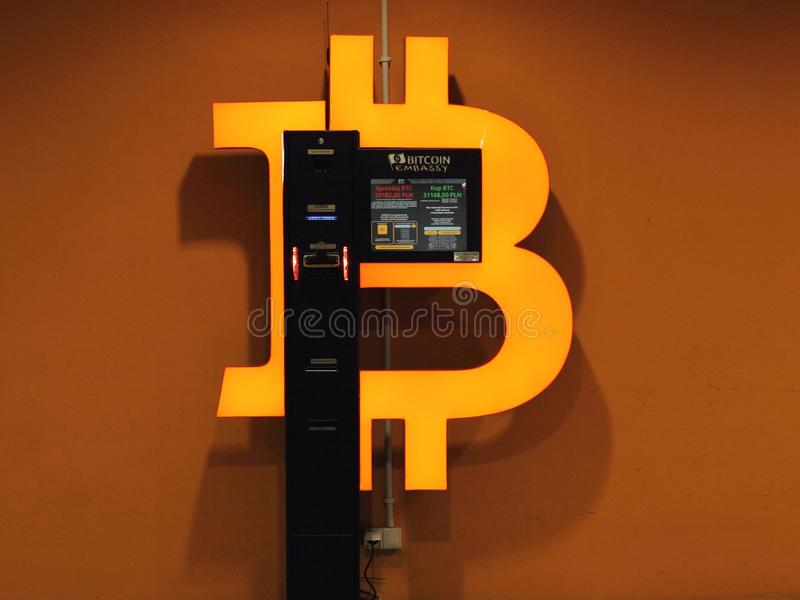 Bitcoin ATM. Katowice, Poland - May 22, 2019: Bitcoin ATM in a shopping mall royalty free stock images