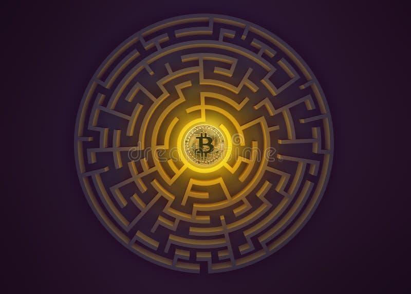 Bitcoin au point central de vue de labyrinthe d'en haut illustration de vecteur