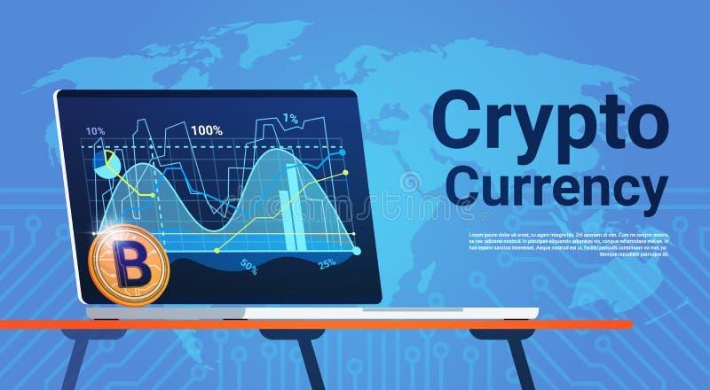 Bitcoin auf Laptop-Computer über Weltkarte-Digital-Netz-Geld-Schlüsselwährungs-Konzept vektor abbildung