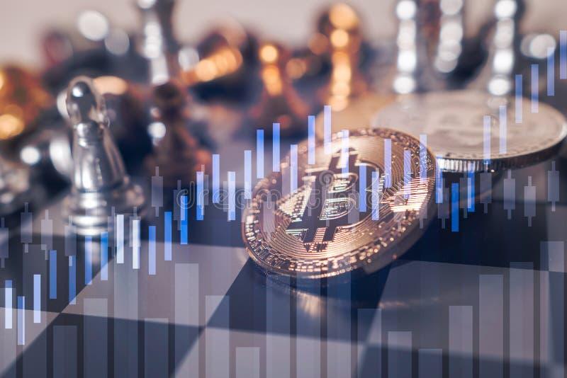 Bitcoin auf SchachBrettspiel von Geschäftsideen lizenzfreies stockbild
