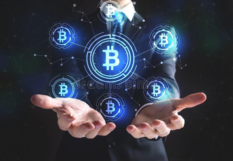 Bitcoin avec l'homme d'affaires photos stock