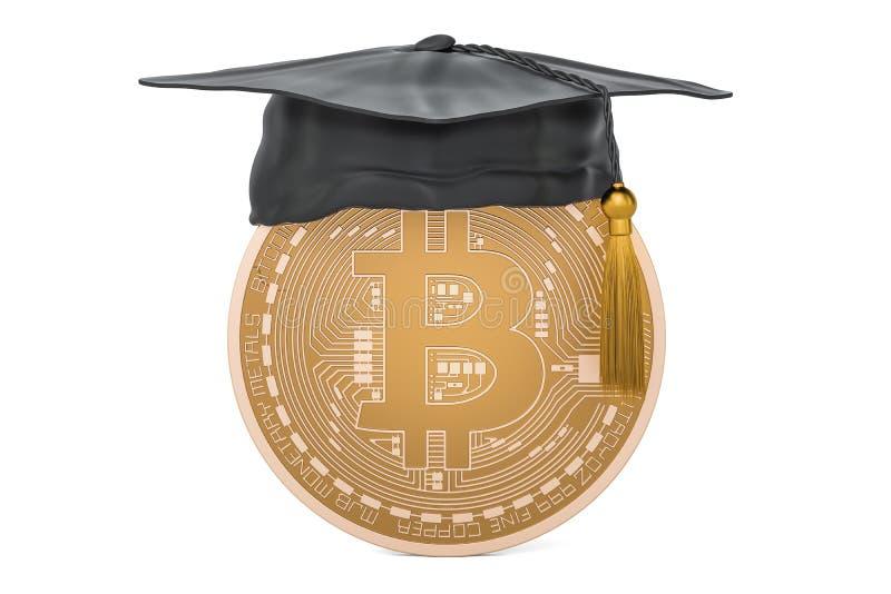 Bitcoin avec le chapeau d'obtention du diplôme, rendu 3D illustration stock