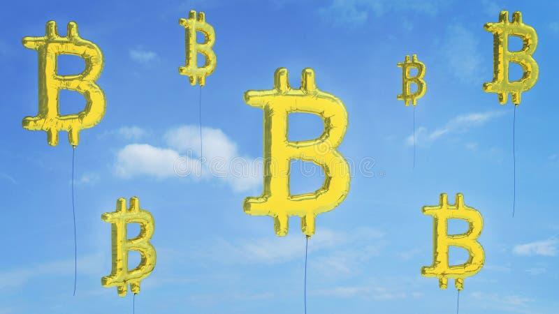 Bitcoin bąbla ryzyko iść wybuch obraz stock