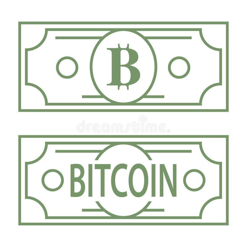 Bitcoin b listu zieleni symbol projektujący jako dolarowy banknot, kreskowa projekt ikony ilustracja royalty ilustracja
