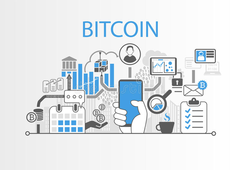 Bitcoin background illustration with hand holding smartphone and icons.  stock illustration
