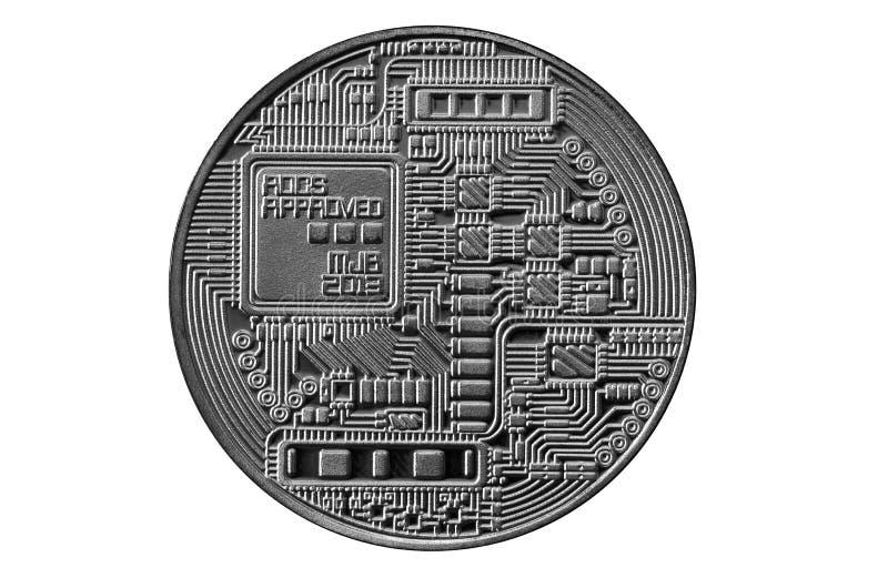 Bitcoin Badanie lekarskie kawałka moneta Cyfrowej waluta Cryptocurrency górniczy pojęcie Srebna moneta z bitcoin symbolami na bia obraz royalty free