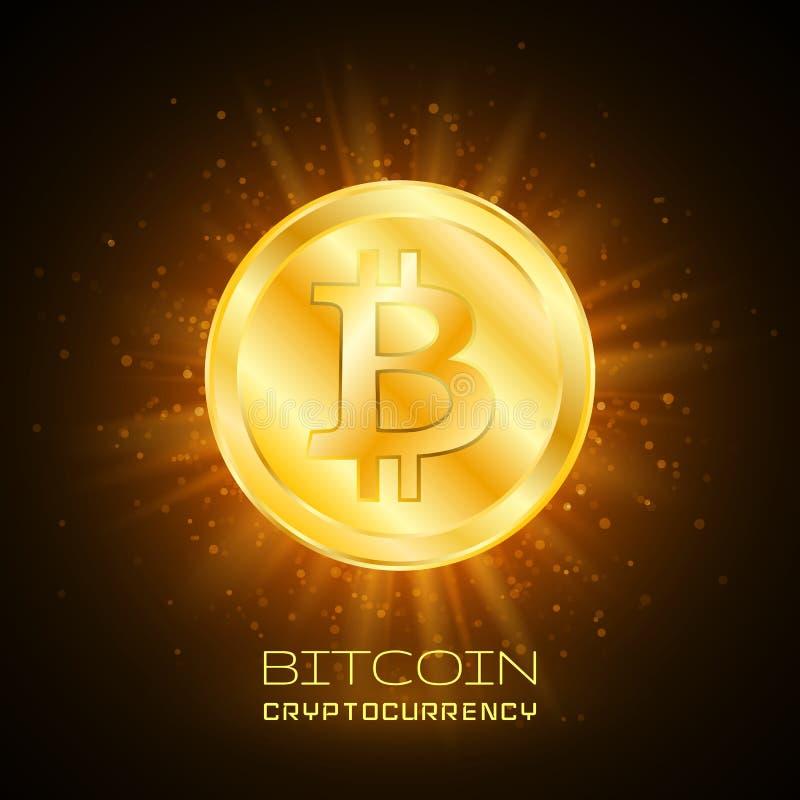 Bitcoin Badanie lekarskie kawałka moneta Cyfrowej waluta Cryptocurrency Złota moneta z Bitcoin symbolem royalty ilustracja
