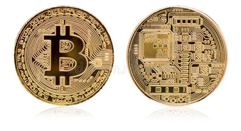 Bitcoin Badanie lekarskie kawałka moneta Cyfrowej waluta Cryptocurrency Złota moneta z bitcoin symbolem odizolowywającym na biały ilustracja wektor