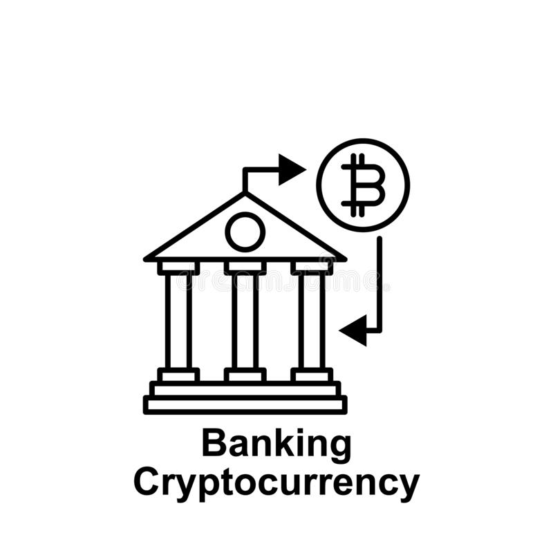 Bitcoin banking online outline icon. Element of bitcoin illustration icons. Signs and symbols can be used for web, logo, mobile stock illustration