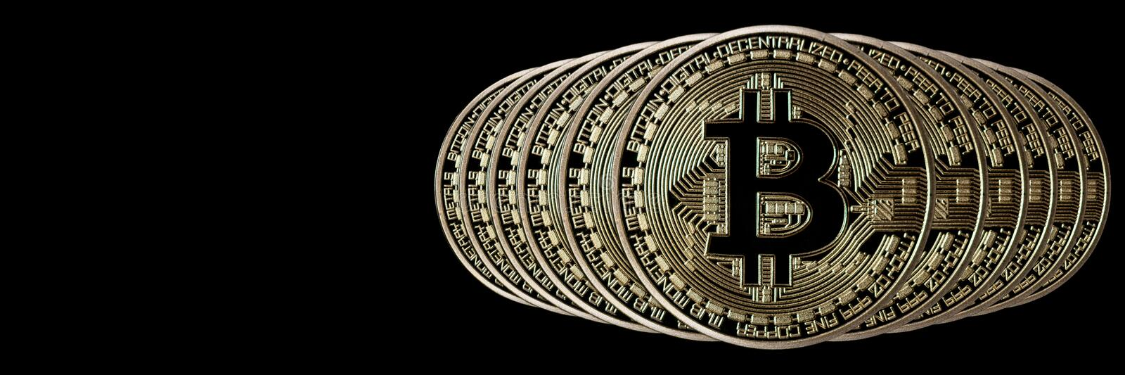 Bitcoin Banner Header. Gold Coin. Cryptocurrency with space for stock images