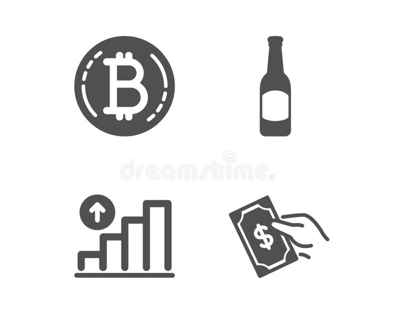 Bitcoin, Beer and Graph chart icons. Pay money sign. Cryptocurrency coin, Bar drink, Growth report. Hold cash. Vector. Set of Bitcoin, Beer and Graph chart icons royalty free illustration