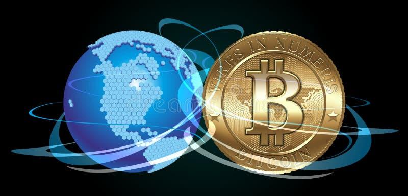 Bitcoin begrepp royaltyfri illustrationer