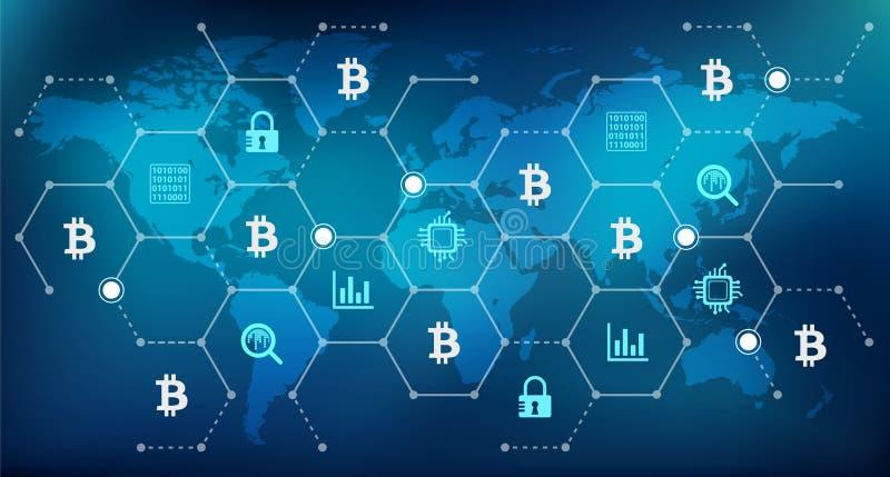 """Bitcoin begrepps†""""som bryter, säkerhet, investering, spekulation royaltyfri illustrationer"""