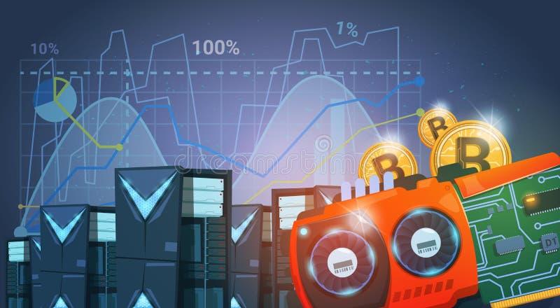 Bitcoin-Bergbau-Bauernhof-Digital-Schlüsselwährungs-modernes Netz-Geld-blauer Hintergrund mit Diagrammen und Diagrammen lizenzfreie abbildung