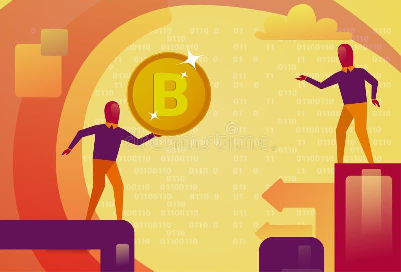 Bitcoin-Bergbau-Netz-moderner Schlüsselwährungs-Technologie-Mann, der goldenes Münzen-Digital-Netz-Geld-Konzept hält vektor abbildung