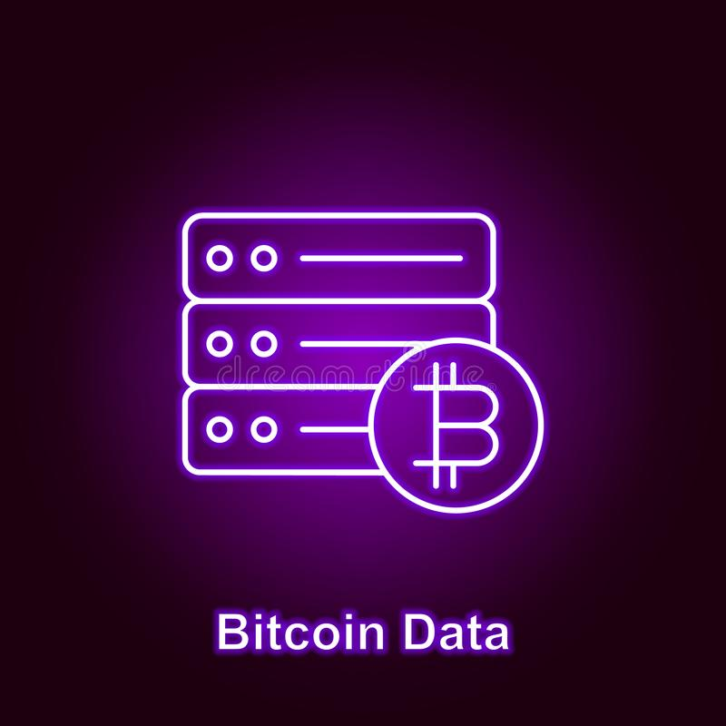 bitcoin big data outline icon in neon style. Element of cryptocurrency illustration icons. Signs and symbols can be used for web, stock illustration