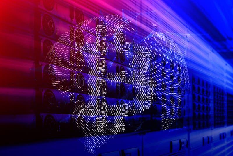Bitcoin binario sopra il fondo tecnologico 3d di moto digitale della proiezione della terra rendere royalty illustrazione gratis