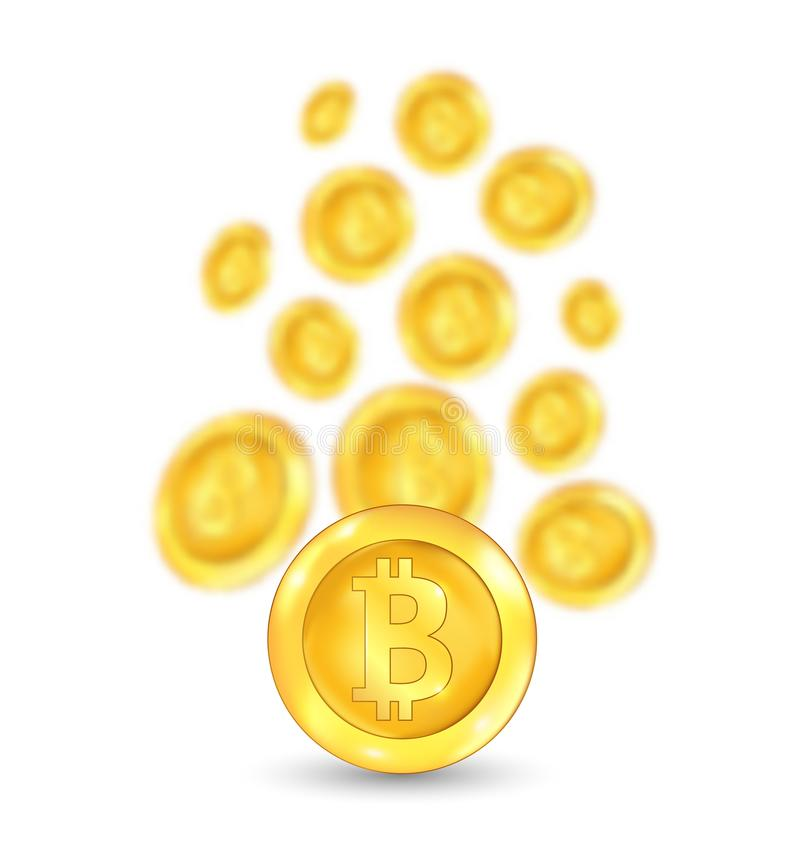 Bitcoin. Bit coin. Digital Currency. Cryptocurrency. Golden Icon Blurred vector illustration