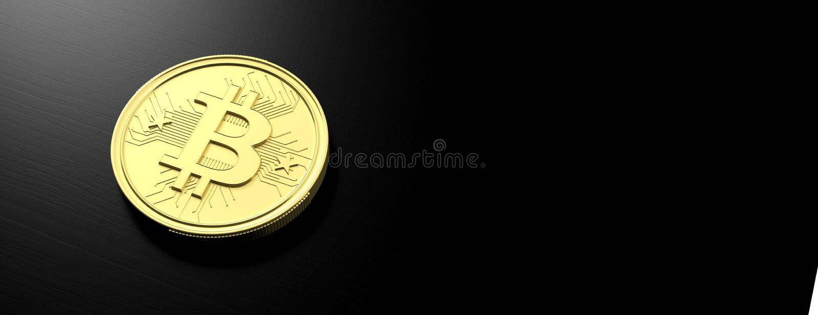Bitcoin on black background, banner, copy space. 3d illustration. Cryptocurrency concept. Golden bitcoin on black background, banner, copy space. 3d illustration stock illustration