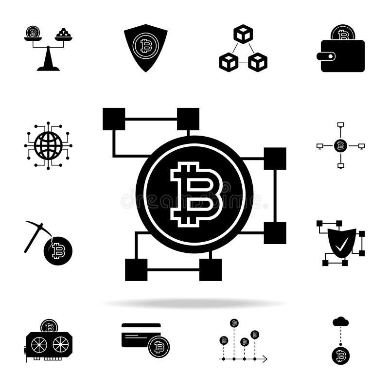 bitcoin blockchain εικονίδιο Crypto καθολικό εικονιδίων νομίσματος που τίθεται για τον Ιστό και κινητό απεικόνιση αποθεμάτων
