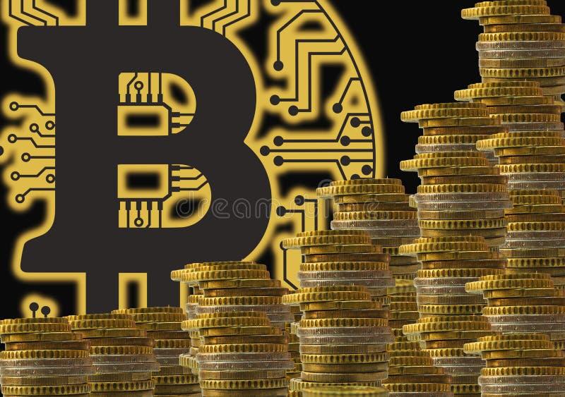 Bitcoin blockchain - bitcoin全世界真正金钱电子付款的钱包概念 图库摄影
