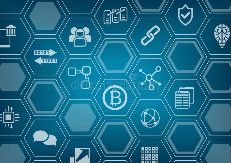 Bitcoin and blockchain blue and grey background with blurred city skyline and polygon overlay.