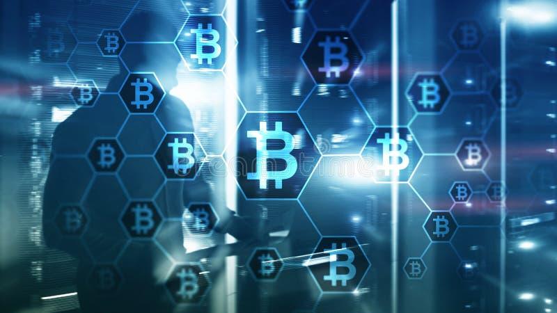 Bitcoin, Blockchain-concept op de achtergrond van de serverruimte stock fotografie