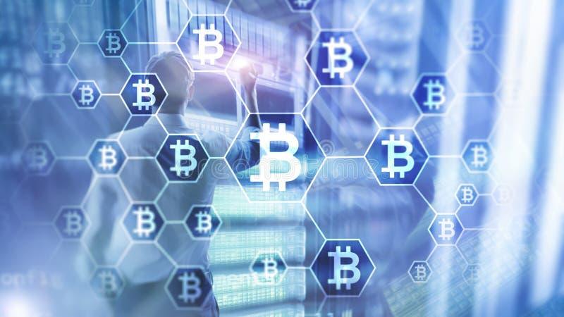 Bitcoin, Blockchain concept on server room background.  vector illustration