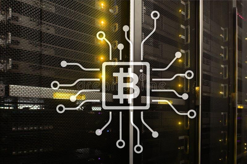 Bitcoin, Blockchain concept on server room background. Bitcoin, Blockchain concept on server room background stock illustration