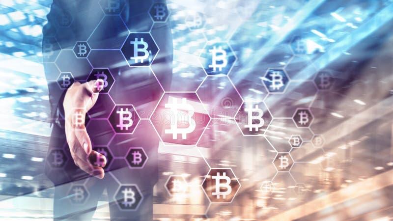 Bitcoin, Blockchain concept on server room background.  royalty free illustration