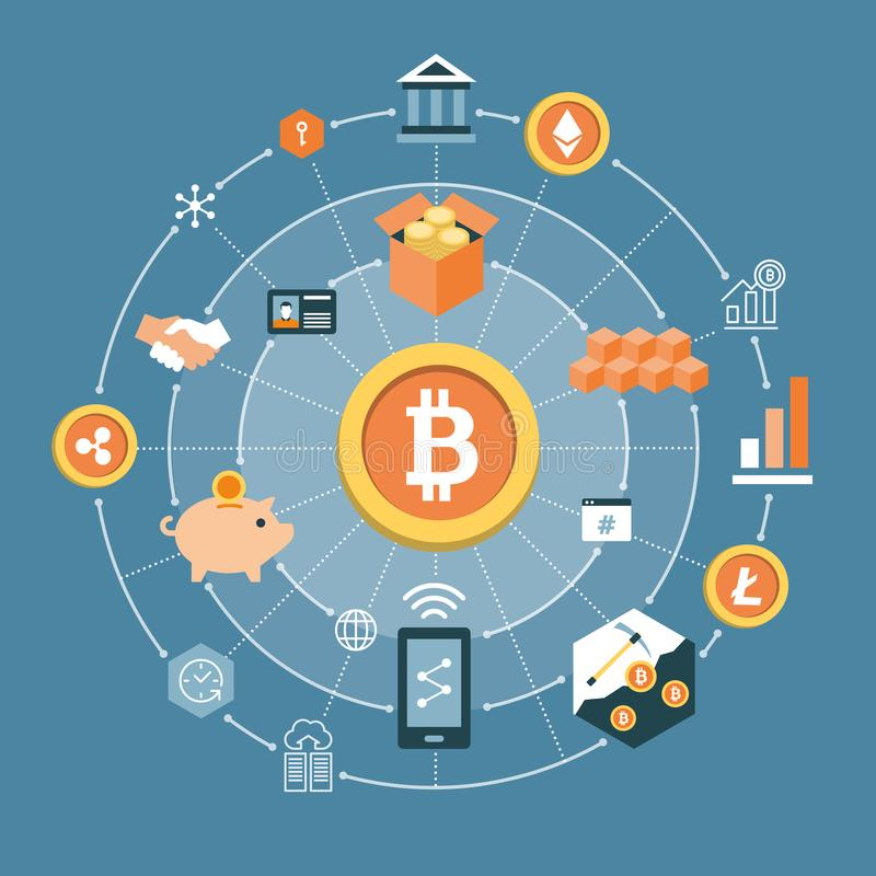 Bitcoin, blockchain and cryptocurrencies icons royalty free illustration