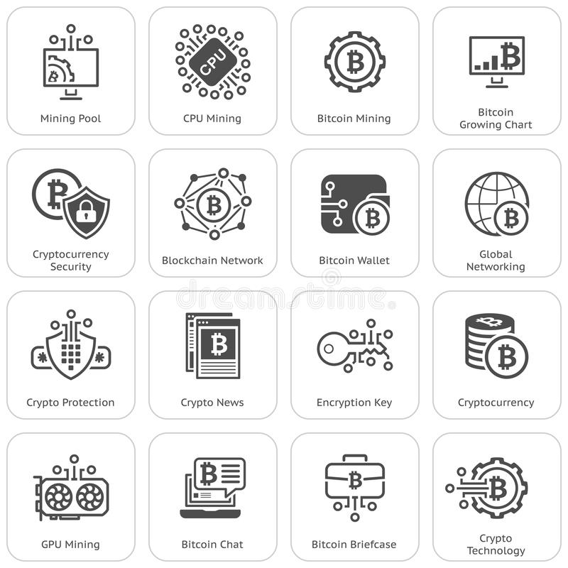 Bitcoin and blockchain cryptocurrency icons stock image and