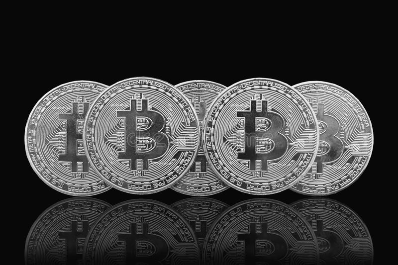 Bitcoin and blockchain digital technology. On a black background, currency blockchain technology concept royalty free stock images