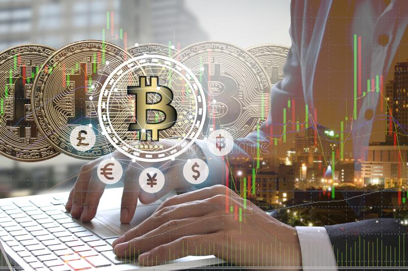 Bitcoin and blockchain digital technology. Virtual currency blockchain technology concept royalty free stock photography