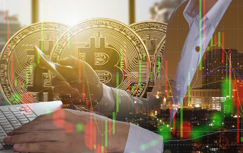 Bitcoin and blockchain digital technology. Virtual currency blockchain technology concept royalty free stock image