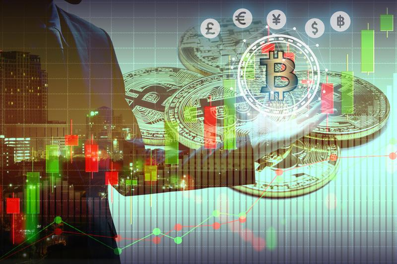 Bitcoin and blockchain digital technology. Virtual currency blockchain technology concept royalty free stock photo