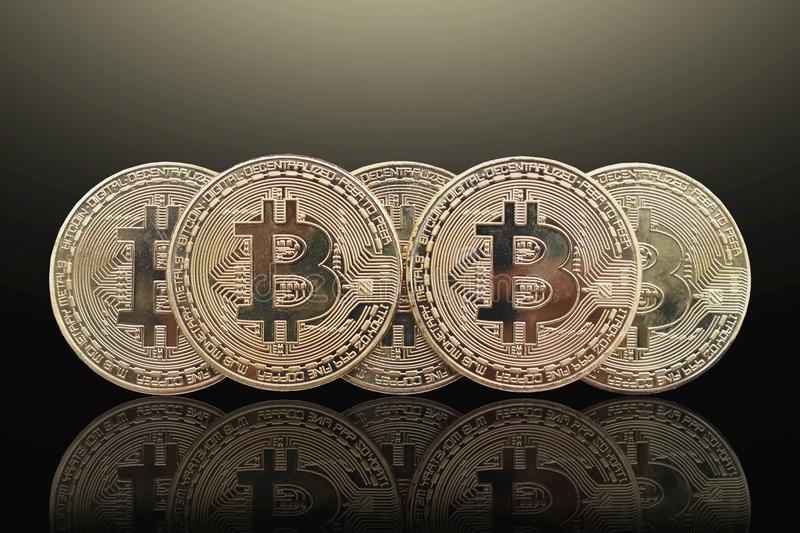 Bitcoin and blockchain digital technology. On a black background, currency blockchain technology concept royalty free stock image