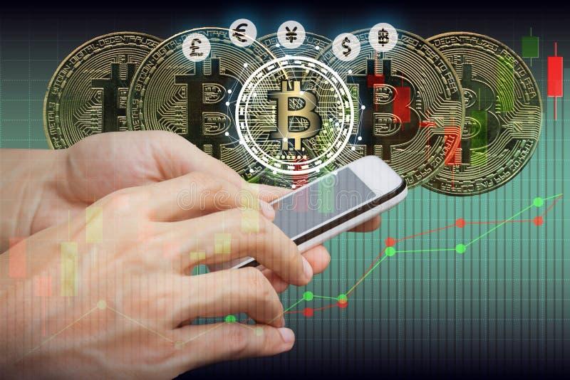 Bitcoin and blockchain digital technology. Virtual currency blockchain technology concept stock photo