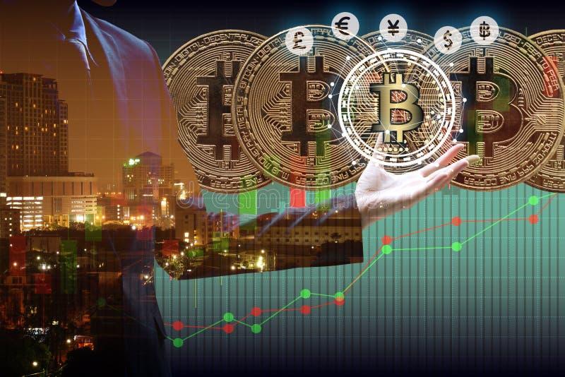 Bitcoin and blockchain digital technology. Virtual currency blockchain technology concept royalty free stock photos