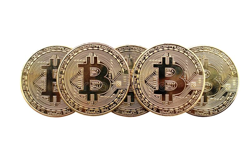 Bitcoin and blockchain digital technology on a white background. Currency blockchain technology concept royalty free stock image