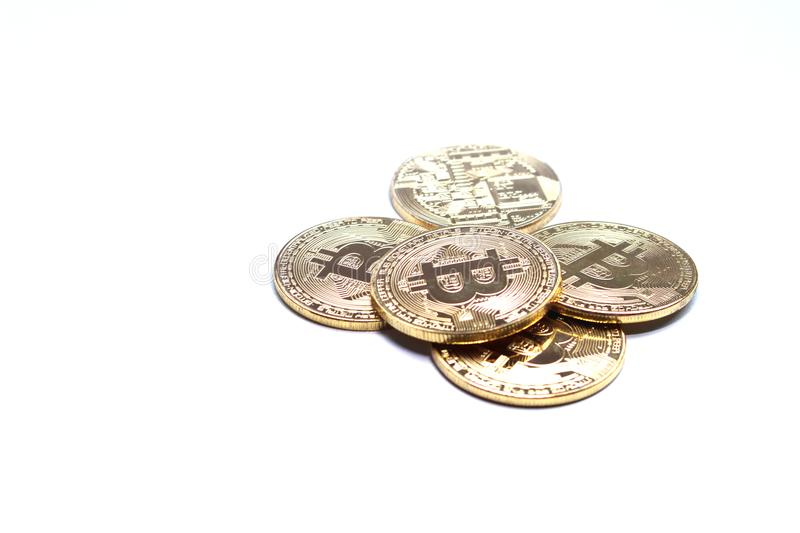 Bitcoin and blockchain digital technology on a white background. Currency blockchain technology concept royalty free stock photography