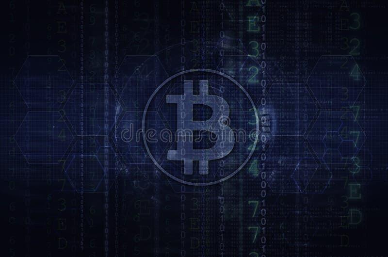 Bitcoin & blockchain ilustracyjny zmrok - błękit obraz stock