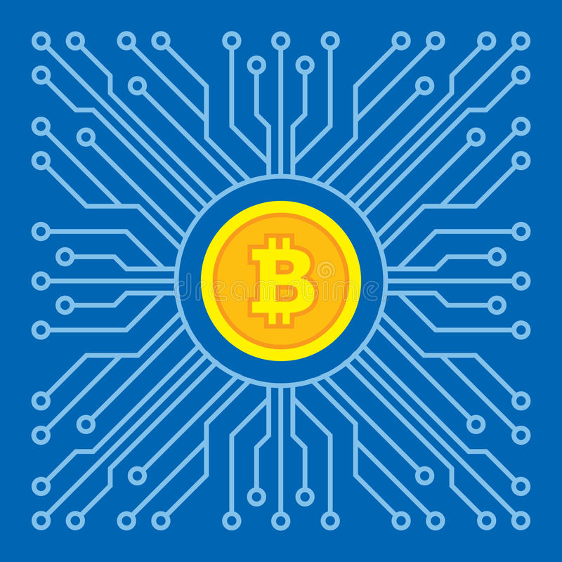 Bitcoin blockchain modern technology - creative vector illustration. Cryptocurrency digital money concept symbol. Computer chip. Bitcoin blockchain modern vector illustration